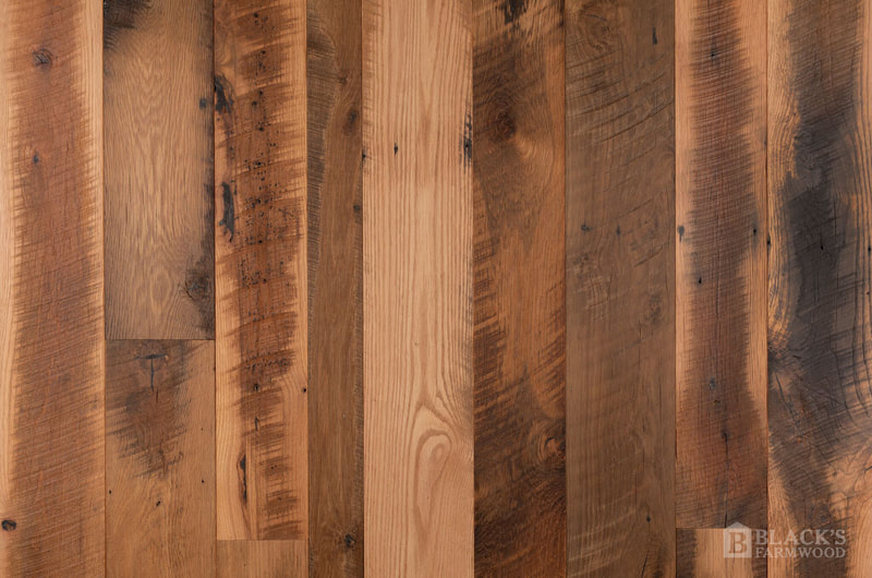 antique tobacco barn oak hit skip reclaimed wood flooring close up