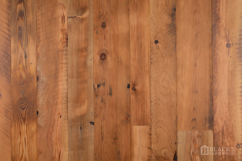 Antique tobacco barn pine reclaimed wood flooring close up